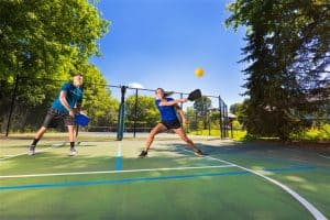 Playing Pickleball in Court